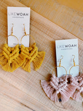 Load image into Gallery viewer, Macrame Hoop Earrings - Likewoah Handmade