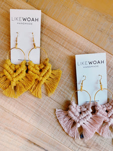 Macrame Hoop Earrings - Likewoah Handmade