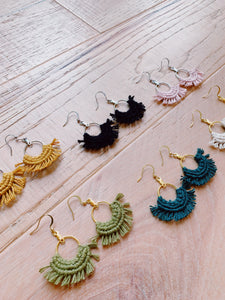 Mini Macrame Fan Earrings - Likewoah Handmade