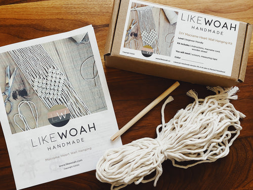 Macrame Heart Wall Hanging Kit - Likewoah Handmade