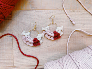 Love Macrame Fan Earrings - Likewoah Handmade