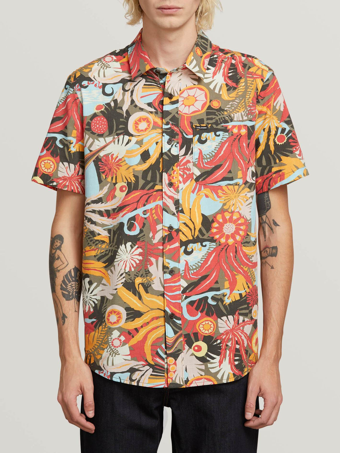 Psych Floral Shirt  - Army