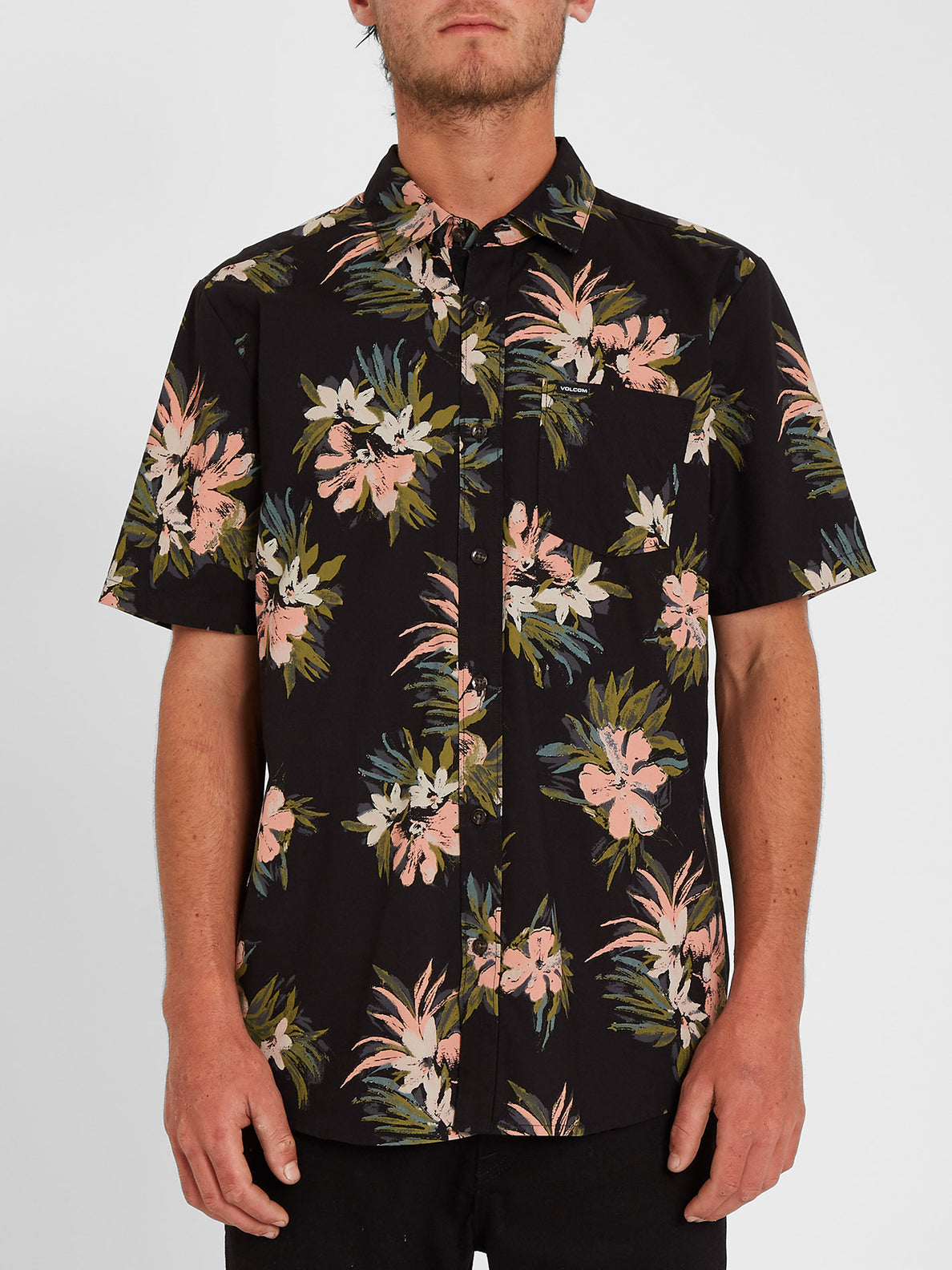 Floral With Cheese Shirt - Black (A0412112_BLK) [F]