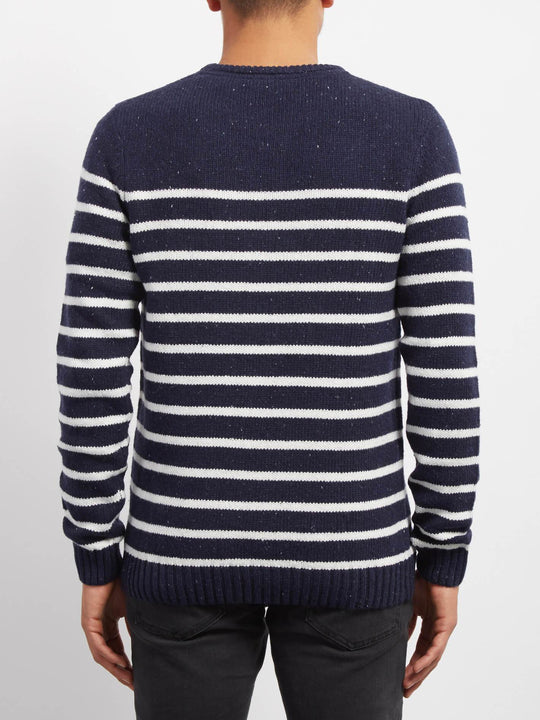 Edmonder Striped Pullover - Navy