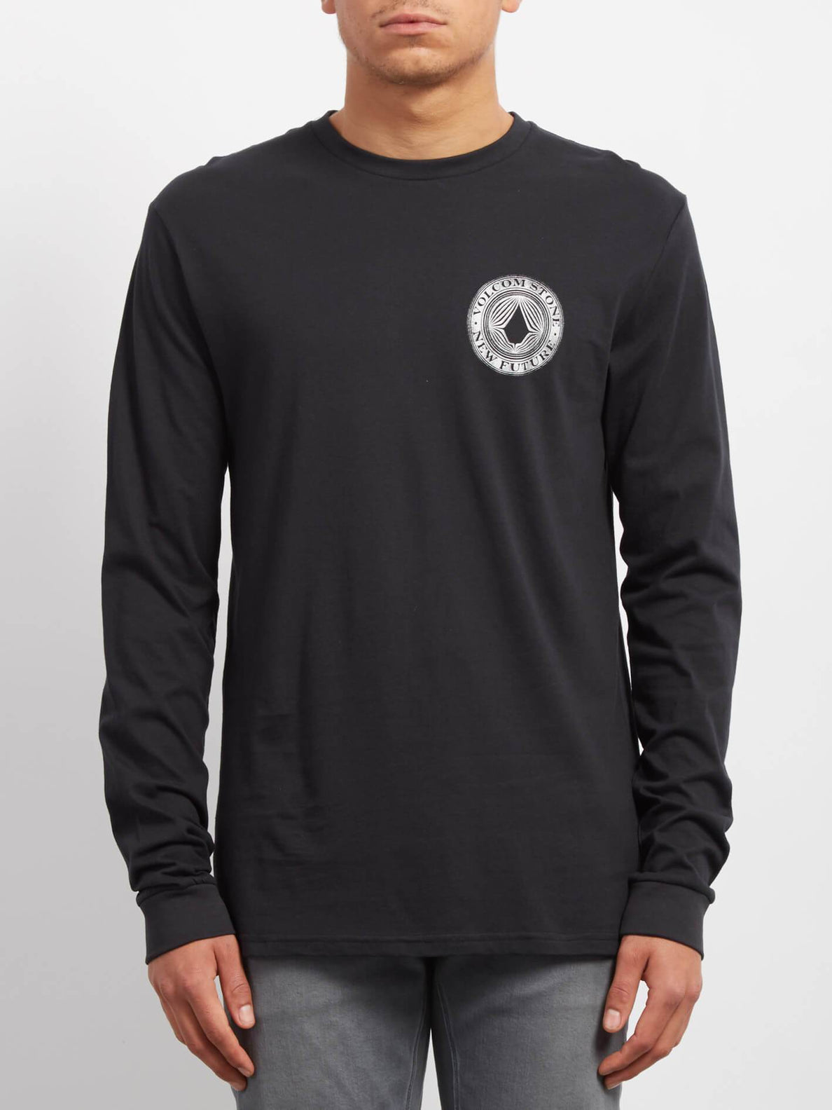 Black All Sizes Volcom Volcomsphere Basic Mens T-shirt Long Sleeve