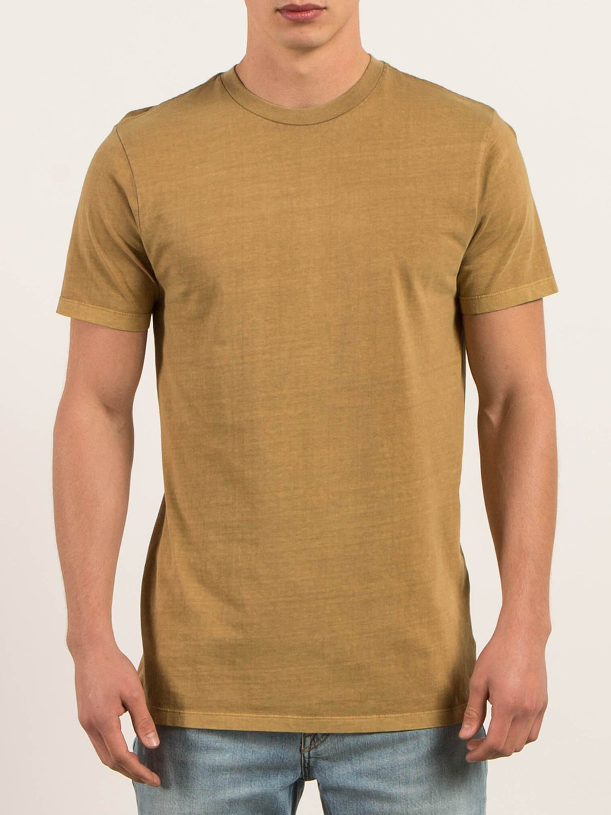 Pale Wash Solid Short Sleeve Tee - Burnt Khaki