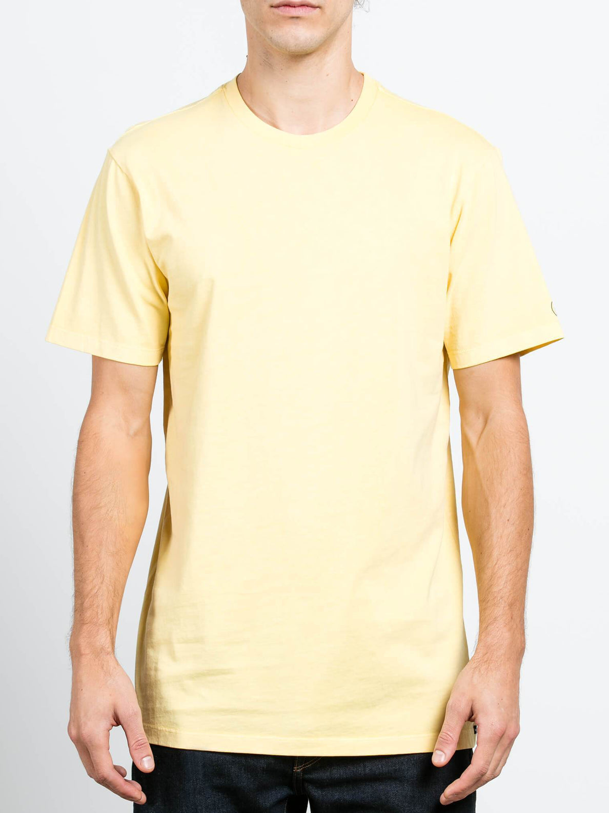 Pale Wash Solid Short Sleeve Tee - Light Yellow