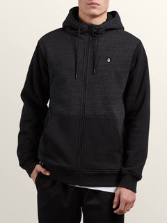 Single Stone Lined Zip Hoodie - Sulfur Black