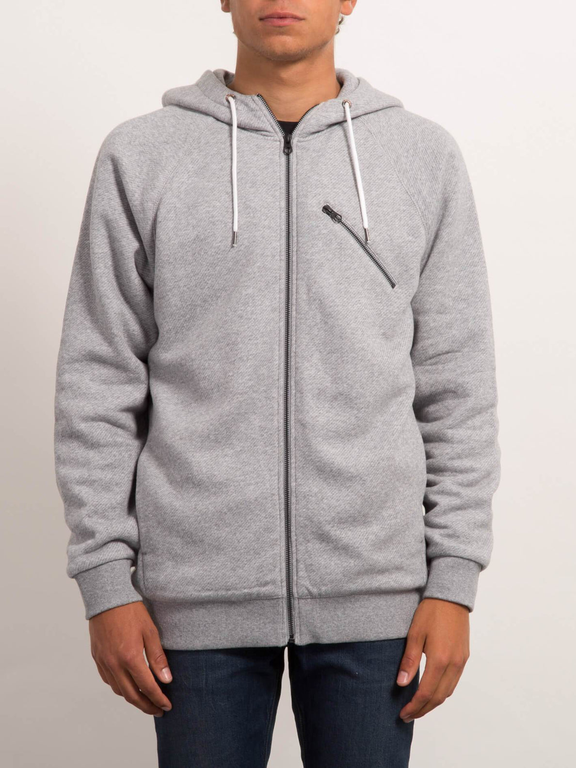 STATIC STN LINED ZIP GREY