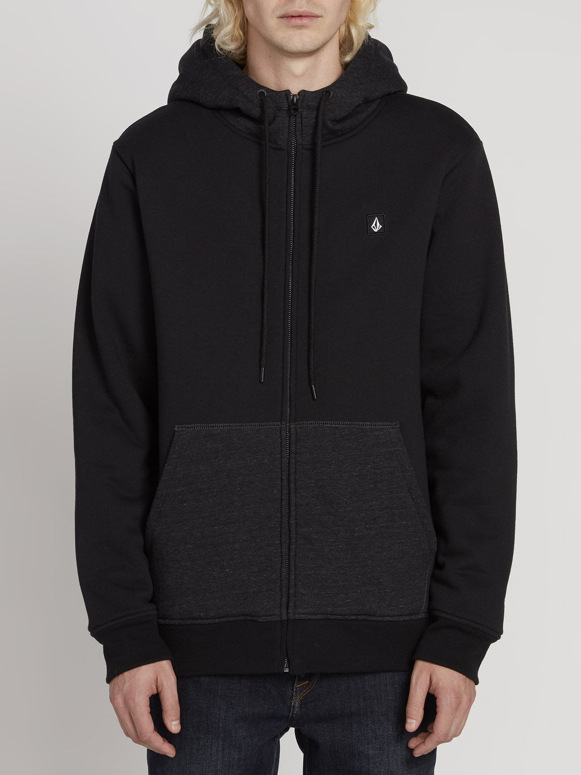 Single Stone Lined Zip Hoodie - Black (A5831900_BLK) [F]