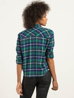 New Flame Long Sleeve Flannel - Midnight Green