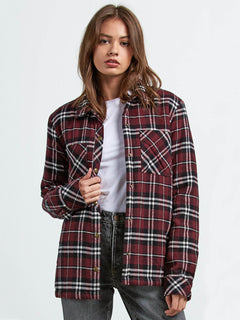 Plaid About You Shirt - Burgundy