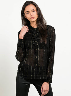 Text Me Button Up Shirt - Black