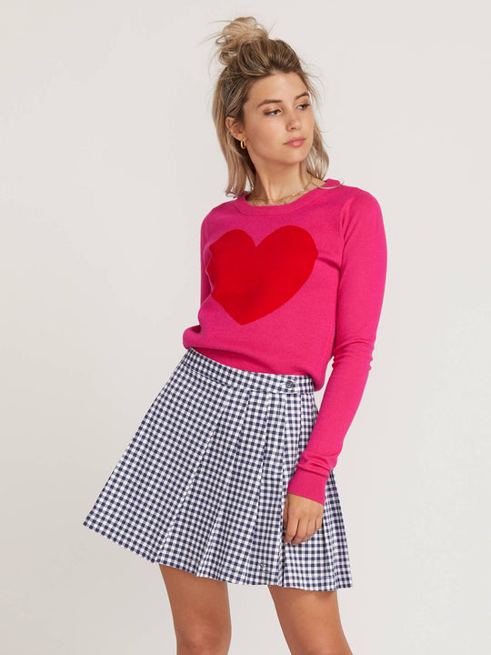 Gmj Heart Sweater  - Electric Pink