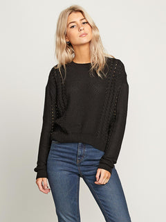 Cable Bodied Crew Sweater - Black