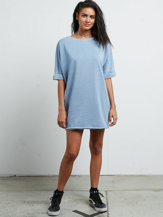 Snap It Dress - Washed Blue