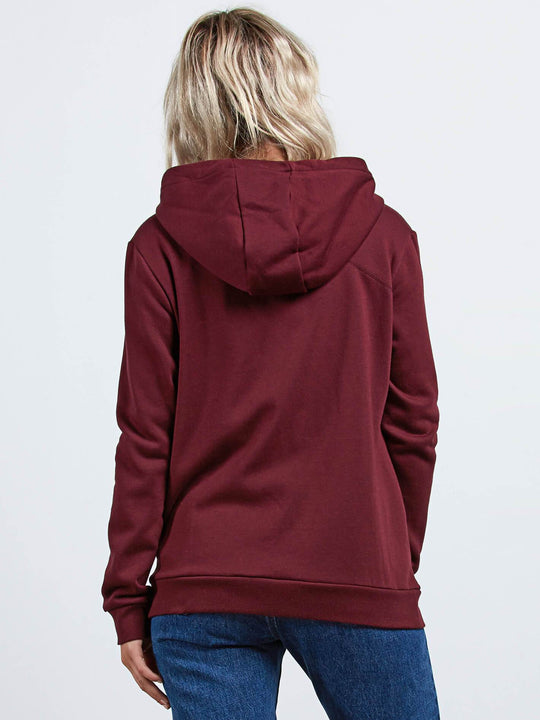 Walk On By Zip Flce Sweater - Burgundy