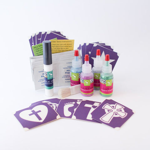 Christian Symbols Glitter Tattoo Kit, Waterproof