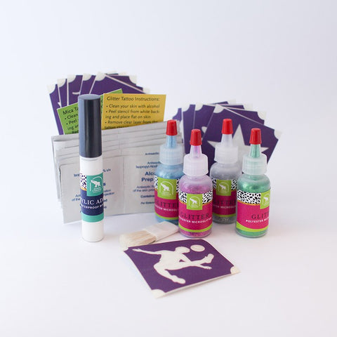Soccer Glitter Tattoo Kit, Waterproof