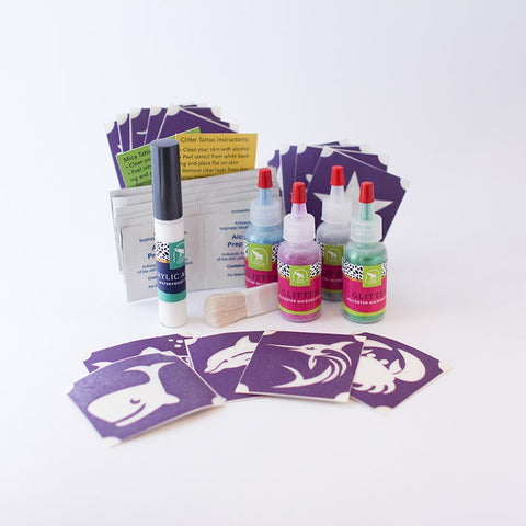 Water Animals Glitter Tattoo Kit, Waterproof