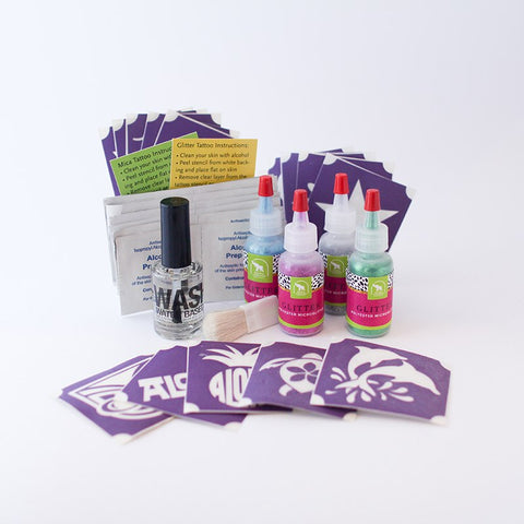 Aloha Glitter Tattoo Kit, Washable