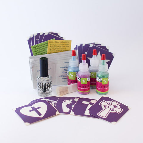 Christian Symbols Glitter Tattoo Kit, Washable