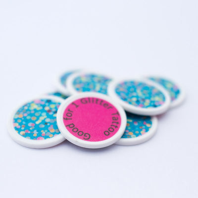 "Pink ""Good for 1 Glitter Tattoo"" Token"