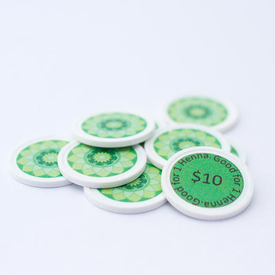 "Green ""$10"" Henna Tokens"