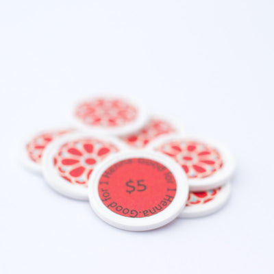 "Red ""$5"" Henna Tokens"