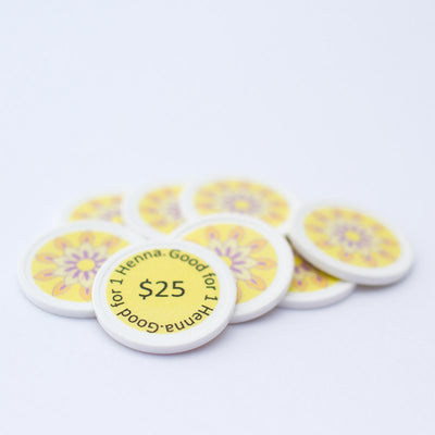"Yellow ""$25"" Henna Tokens"