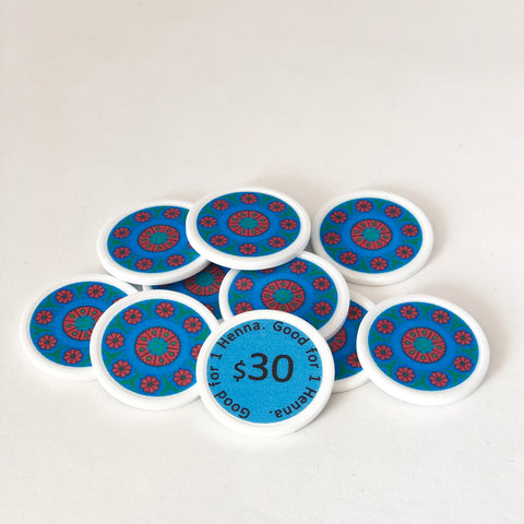 "Blue ""$30"" Henna Tokens"