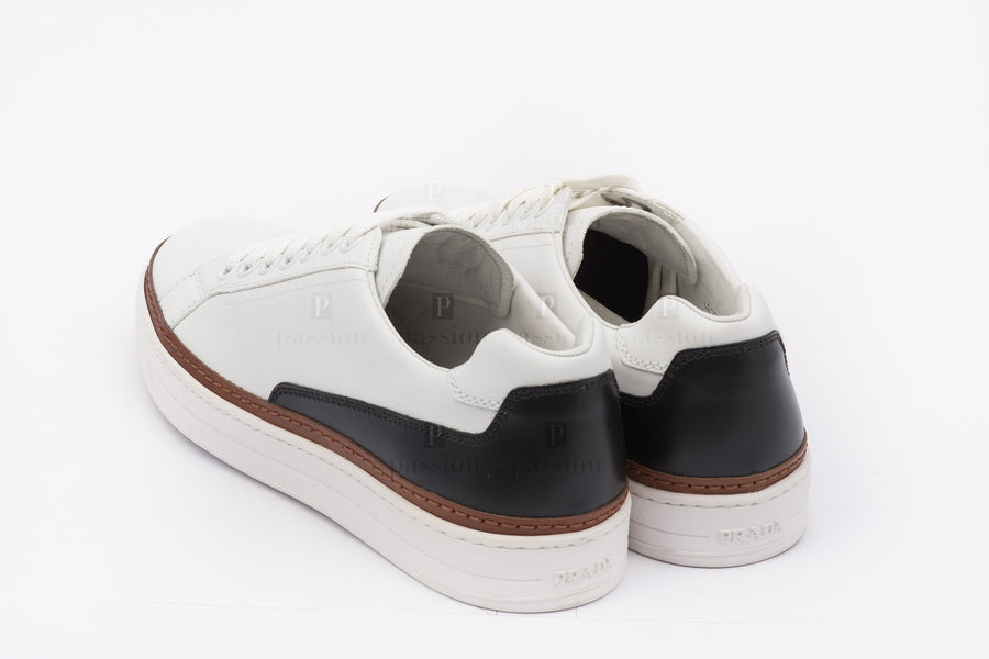 Prada-Calzoture Bianco+Nero Nevada Calf Sneakers