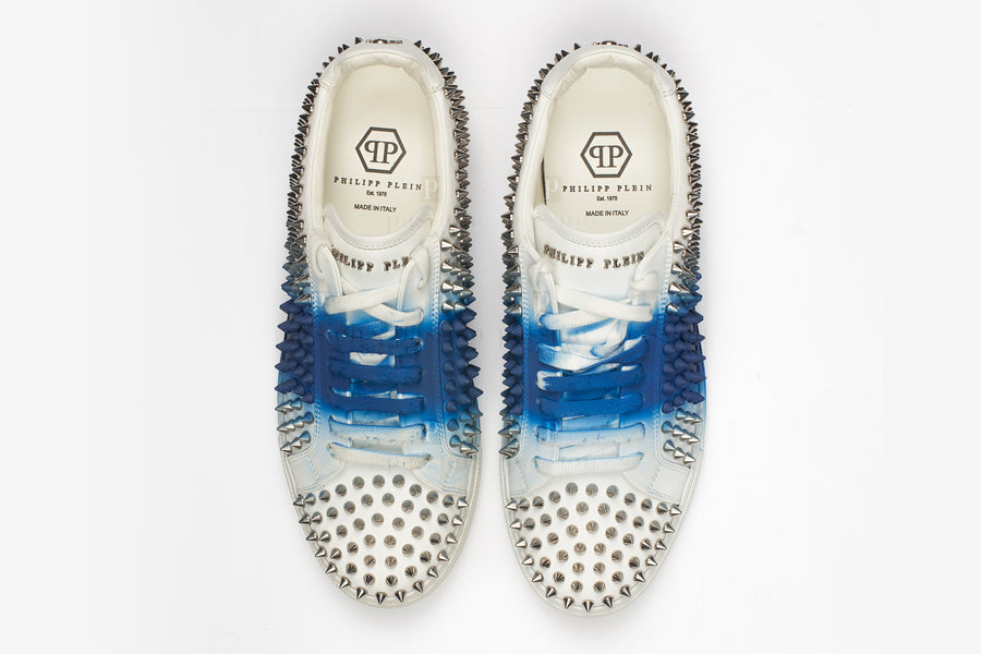 Philipp Plein-White Middle Blue Lo Top Sneakers