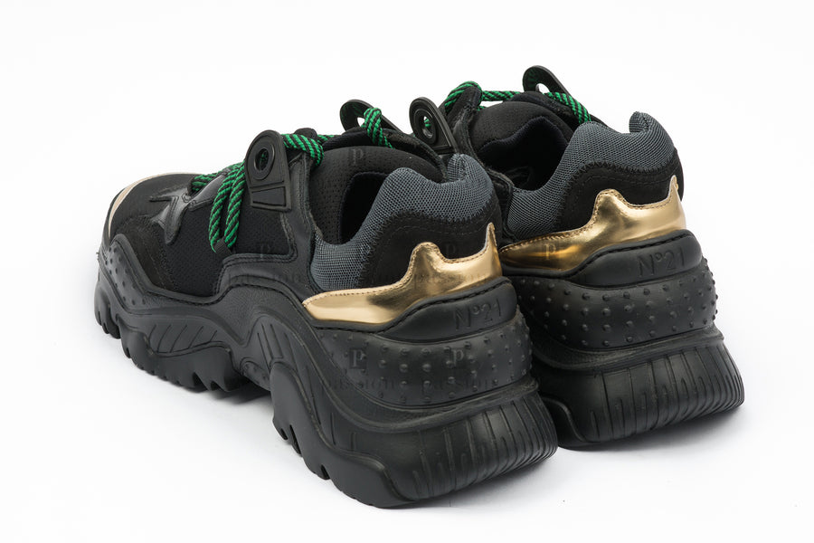 No 21-Stretch Black/Gold Sneakers