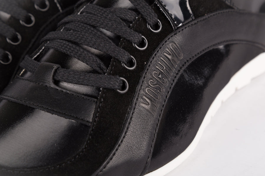 Moschino-Velour/Raso Tech Nero Sneakers