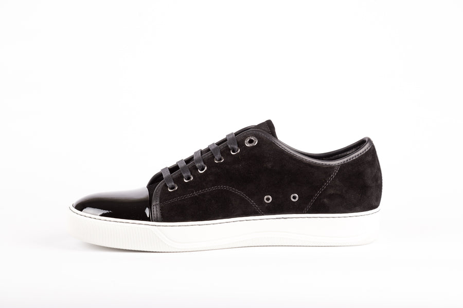 Lanvin-Suede And Patent Captoe Low Top Sneakers