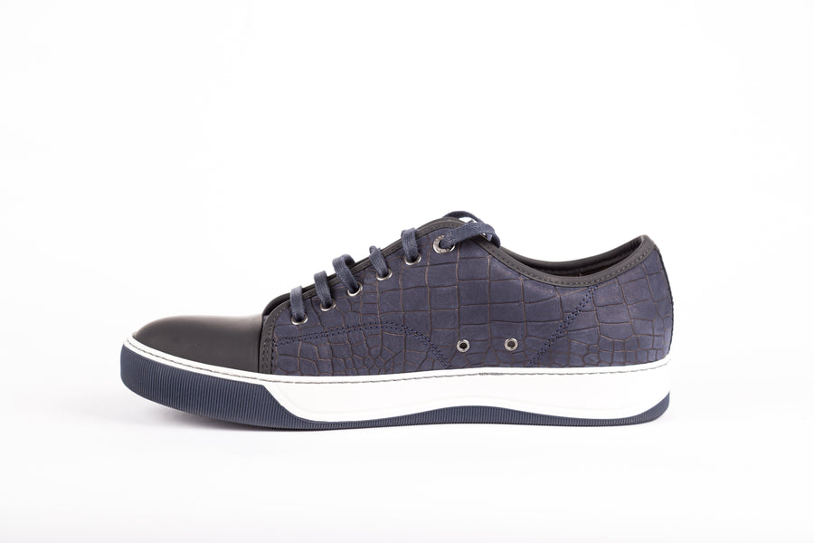 Lanvin-Embossed Nubucked Calskin Low Top Sneakers