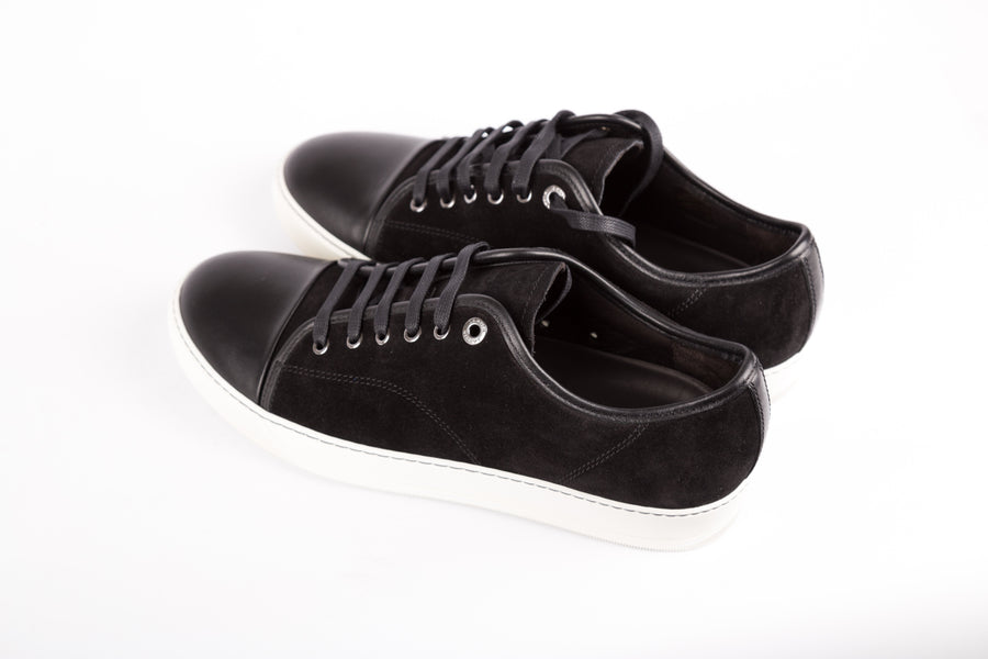 Lanvin-Suede And Nappa Captoe Low Top Sneakers
