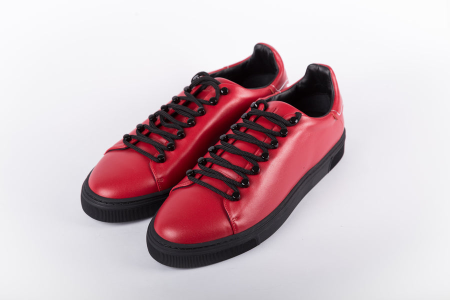 Louis Leeman-Sim+Nap+Ronne Rosso/Nero Low Top Sneakers