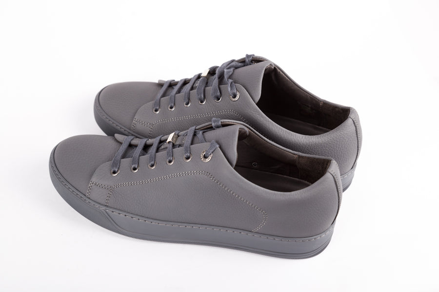 Lanvin-Opaco Granined Calfskin Low Top Sneakers