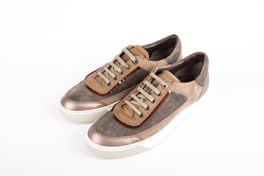 Lanvin-Suede/Metallised Calskin Low Top Sneakers