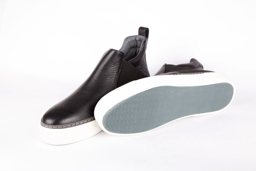Lanvin-Matt Grainy Calf High Top Slip On Shoes