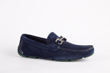 Salvatore Ferragamo-Blue Marin Suede Loafer