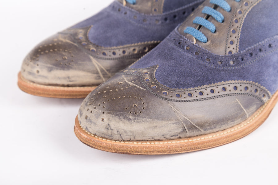 Sergio Rossi-Pelle Velour Combo Vintage Lameira/Zaffiro Shoes