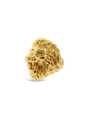 Ruby Lion Head Ring in 14k Yellow Gold