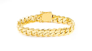 "14k Yellow Gold Miami Cuban Link Bracelet 9"" 13mm"