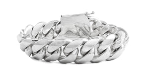 "Sterling Silver Miami Cuban Link Bracelet 9"" 20mm"