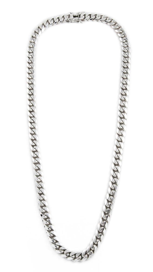 "Sterling Silver Miami Cuban Link Chain 28"" 10mm"