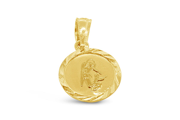 14k Yellow Gold My Guardian Angel Pendant/Angel De La Guarda Medalla - Be My Guide - Round Religious Medal