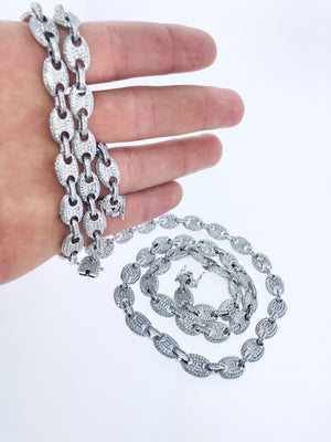 Iced Gucci Style Link Necklace in White Gold
